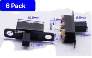 6 x Mini Slide Switch On-OFF 2 Position, 3 Pin Micro Toggle PCB -UK -Free P&P