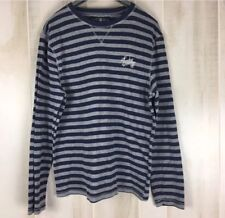 Lucky Brand Men's Blue Gray Striped Thermal Shirt Long Sleeves Crewneck Size L