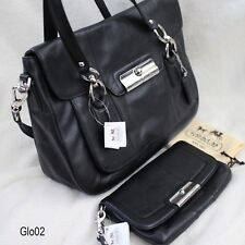 NWT COACH KRISTIN Black LEATHER Flap Satchel SHOULDER HAND BAG PURSE+ Clutch NEW