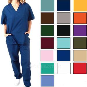 Medical Scrubs Set Unisex Men Women Cargo Pant & 3 pocket V-Neck Top / Scrub Set