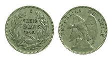 pcc1359_10) CILE CHILE 20 CENTAVOS 1908 AR