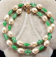 Vintage Signed Miriam Haskell Peking Glass Faux Baroque Pearl Brass Necklace