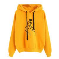 Women Sweatshirt and Hoody Ladies Love Heart Finger Hood Casual Hoody for Girl B