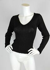 Betsey Johnson Vtg 90s XS S Sweater Black Metallic Knit V-neck Long Sleeve