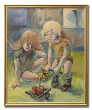 EBBE HÖGLUND 1914-1993 / TWO CHILDREN - Original Swedish Oil Painting