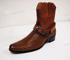 Men's Cowboy Boots Western Snake Skin Print Zippper Buckle Harness Shoes, Sizes