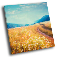 Blue Yellow Field Nature Square Scenic Canvas Wall Art Large Picture Print