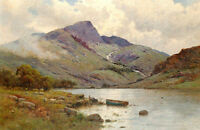 Stunning Landscape Oil painting canoe by the river with mountains canvas
