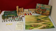 VINTAGE RARE 1960s MARX MINIATURE KNIGHTS AND CASTLE PLAYSET  W/ BOX,