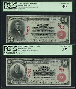 FR613, FR639 #713 $10 & $20 1902 RED SEAL NB OF CHICAGO PCGS 58 AU 40 XF WLM4794