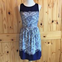 New with Tags LOFT Fit & Flare Dress Navy Paisley Print Size 8