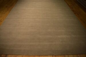 Striped New Contemporary Hand-Tufted 8' x 11' Brown Rug