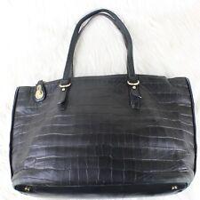 Stuart Weitzman Soho Tote Black Leather Crock Embossed Bag