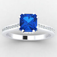 0.65 Ct Natural Diamond Blue Sapphire 14K White Gold Gemstone Ring Size 8 7 6