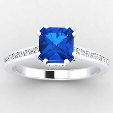 0.65 Ct Natural Diamond Real Blue Sapphire 14K White Gold Gemstone Ring Size 8 7