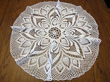 """Hand Crocheted White Doily- 27 1/2"""""""" Across - Center Piece for Table"""