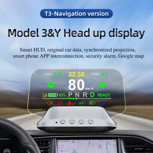 For Tesla Model 3 Smart Dashboard HUD Head Up Display OBD Speedometer Navigation