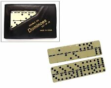 Dominoes Wooden White With Black Spots Dots Traditional Classic Game Children FA
