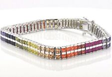 "Sterling Silver Double Row Rainbow MultiColor Lab Sapphire Tennis 7.5"" Bracelet"