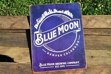 Blue Moon Brewing Company Tin Metal Sign - Est. 1995 - Beer - Skyline Logo