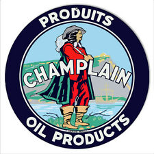Champlain Oil Products Reproduction Motor Oil Metal Sign 14 Round