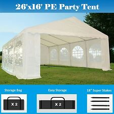 26'x16' PE Party Tent - Heavy Duty Carport Canopy Wedding  Shelter - White