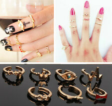 7pcs Love Bow Crown Above Knuckle Band Finger Charm Mini Tail Stacking Rings Set