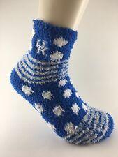 Official NCAA College Kentucky Wildcats Striped Fuzzy Sleep House Socks Medium