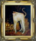 Framed Pierre Bonnard White Cat Repro, Quality Hand Painted Oil Painting 20x24in