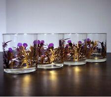 Scottish 1950's Gregory Duncan Whiskey Glasses Set Of 4 Purple Gold Thistle