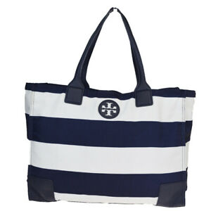 Auth Tory Burch Nylon,Leather Tote Bag Navy 08GC407