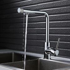 3 Way Water Filter Kitchen Sink Mixer Taps Twin Lever  Swivel Spout Mono Tap