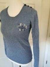 Gaastra sailing Blue Gray Sweater Sequin Button Shoulder Detail M