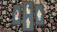 Lot of 3 CHINESE ANTIQUE 3 DIMENSIONAL SILK ROBE & FABRIC FIGURES PAINTINGS