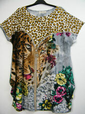 Polyester Animal Print Regular Size Casual Tops for Women