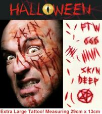 Large Halloween Tattoos Fake Scars Cuts Gashes Scab Wound FX Face Make Up Kit