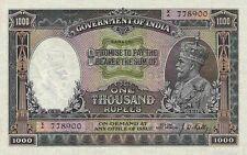 British India 'KARACHI' 1000 Rupees King George V 1928 P12 Reproduction