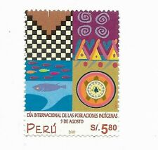 PERU 2002 INDIGENOUS PEOPLE INTL DAY, NATIVE FOLK ART MI 1793 SCOTT 1307 MNH