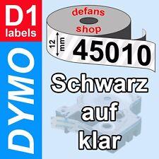 DYMO D1 Schriftbandkassette 45010 schwarz auf klar 12mm clear S0720500 ORIGINAL