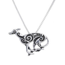 Tribal Greyhound Running Pendant Necklace Silver Tone ANIMAL RESCUE DONATION