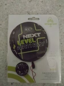 NEW NEXT LEVEL BIRTHDAY FOIL BALLOON 15IN 38CM COMPUTER CONTROLLER VIDEO GAME