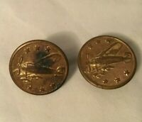 """2 Gold Tone Metal Military Uniform Buttons Stud Cuff Button pics AIRPLANE 7/8"""""""