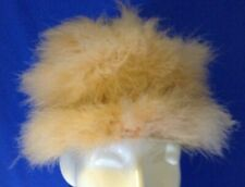 Woman'S Vintage Hat Ivory Peach Marabou Bow