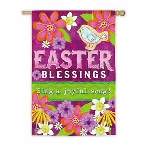 """Easter Blessings Garden Flag Double-Sided Suede Bird Flowers Green Pink 12.5x18"""""""