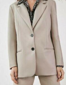 Zara Woman Beige Tan Oversized Faux Leather Blazer Sz M Jacket Coat