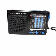9Band FM/AM/SW World Handheld Receiver Black Portable Works
