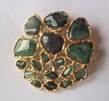 vintage estate jewelry pin brooch! Beautiul jade green stones on gold