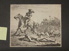Scène de bataille, eau-forte époque 18ème.