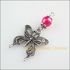 5Pcs Tibetan Silver Tone Hot Pink Glass Round Beads Butterfly Charms Pendants