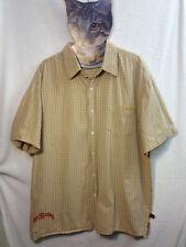 Get Lucky Australian Brand Western Style Button Shirt Xl Beige Rockabily Plaid